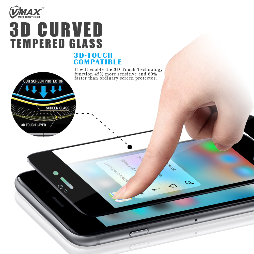 Newest 3D Curved Ultra Clear 9H Anti-Shock Anti Blue Light Tempered glass screen protector for Iphone 7/Iphone 7Plus