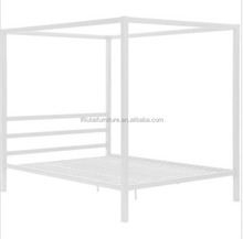 Modern Canopy Queen Metal Bed White Platform Bed Frame No Box Spring Required