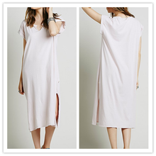 HOT sale Sexy open fork Kaftan fashion casual women long dress Cap Sleeve Cotton T-shirt Dress