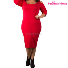 Sample Free Red Fat Women Cloth NO MOQ Simple Design Dress
