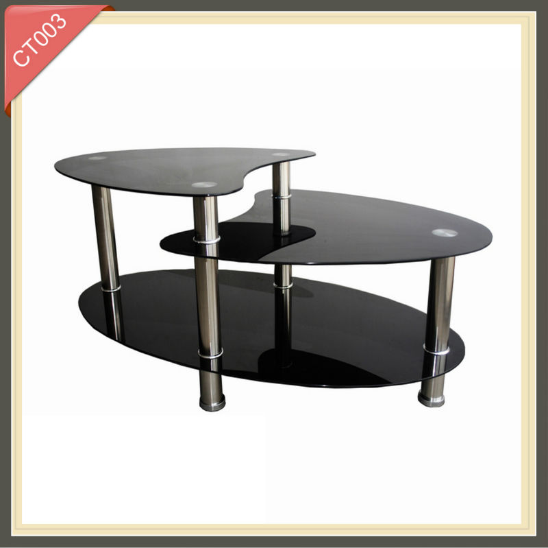 modern fancy led cheap tempered glass wire coffee table