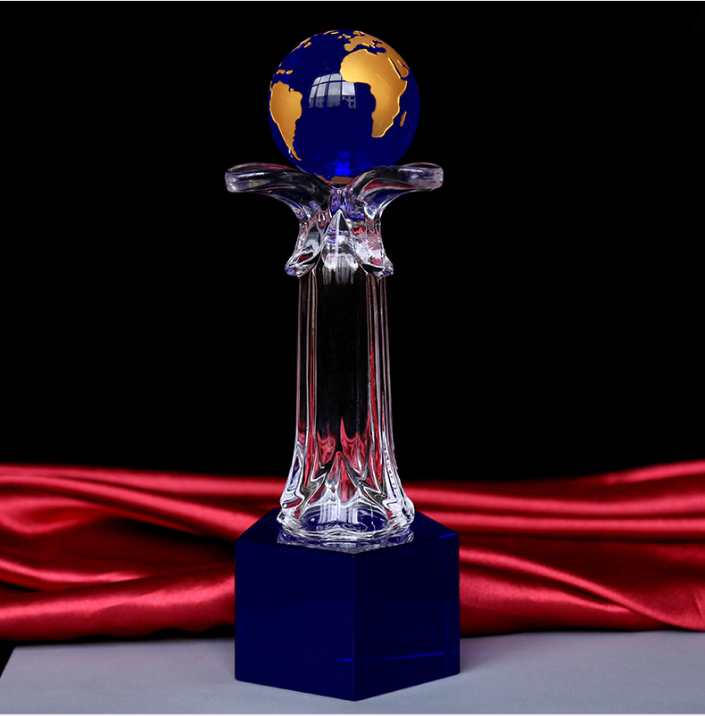 blue crystal globe earth ball and base glass award trophy with clear stem