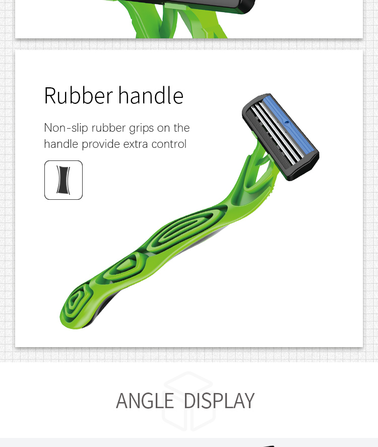 KL-R351L 3blades shaveing razor rubber handle safety disposable razor for man high quality