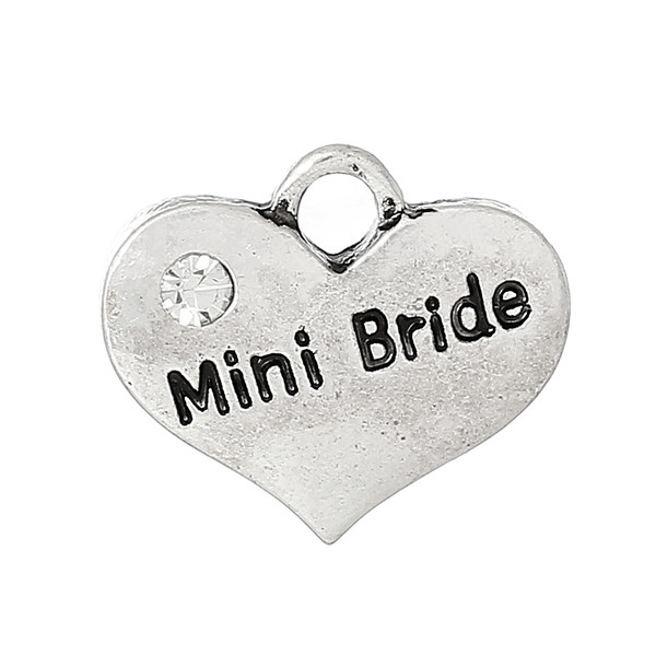 "Charm Pendants Heart Antique Silver Message ""Mini Bride"" Carved Clear Rhinestone 16.0mm x 14.0mm"