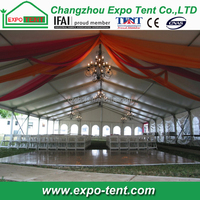 clear span wedding party tent with chairs and stage
