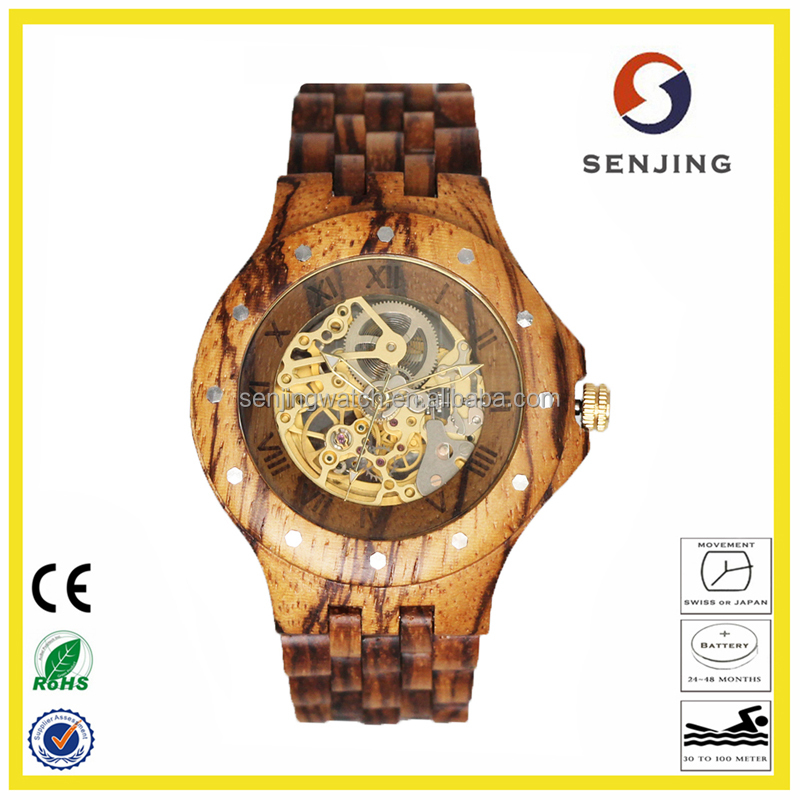 2017 hot selling high quality wholesale luxuary charming custom logo skeleton automatic mechanical wood watch for men