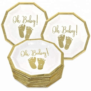 Easternhope 9 Inch Paper Plates Disposable for Boys or Girls Gold Foil and White Oh Baby with Baby Footprints Baby Shower