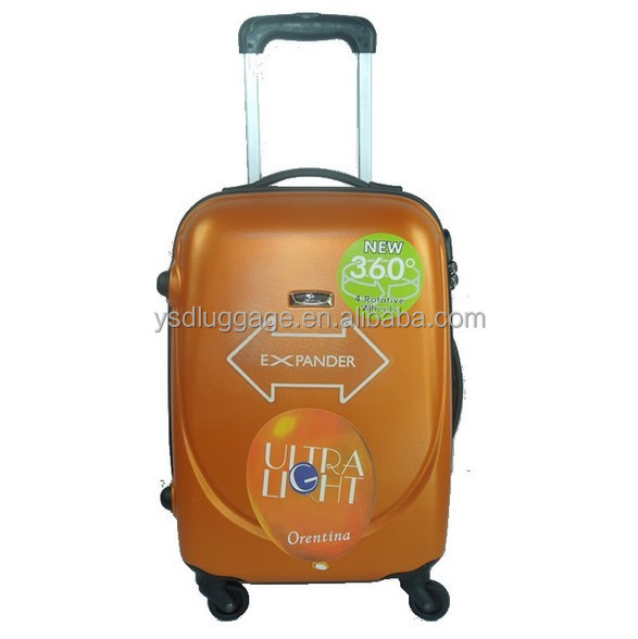 2014 New design hard ABS PC trolley luggage case with 360degree wheels