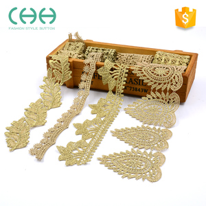 Cheap price gold soft texture allover chemical textiles embroidery lace fabric
