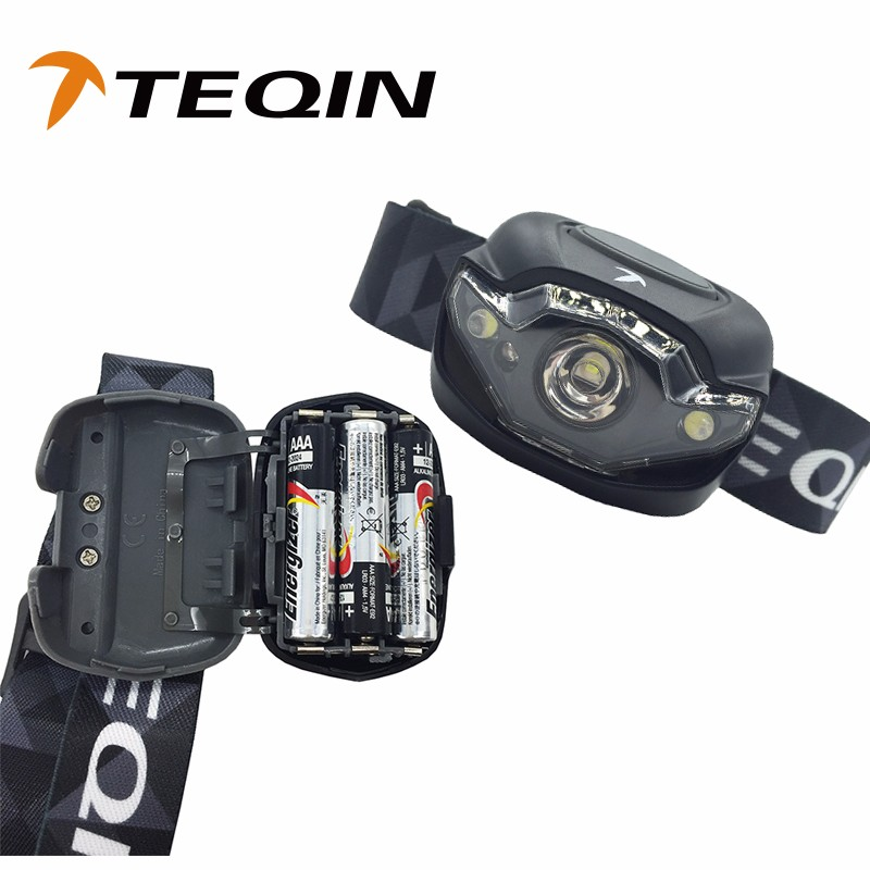 TEQIN High Quality 3led light 90LM Battery Powered Led Headlamp for Bicycling