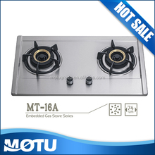 2 Burner Stainless Steel Top Gas Cooker Hob with brass Burner MT-16A