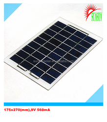 Glass/PET laminated 5W Monocrystalline solar panel 9V
