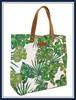 Canvas beach bag tote bag with PU leather handles