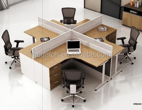 Modern 4 person office workstation desk, office partition furniture drawings(FOH-JT1A)