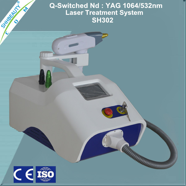 Portable Q switched nd yag laser tattoo removal, nd yag laser for Eliminate Coffee spot and Taitian naevus