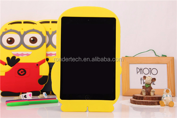 Gel Silicone Rubber minion Case For iPad Mini, Slim Soft Cover Case For iPad Mini Colorful cartoon Case