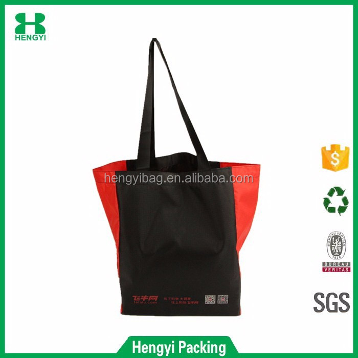Custom wholesale popular red and black 210D polyester shopping tote bag for christmas promotion