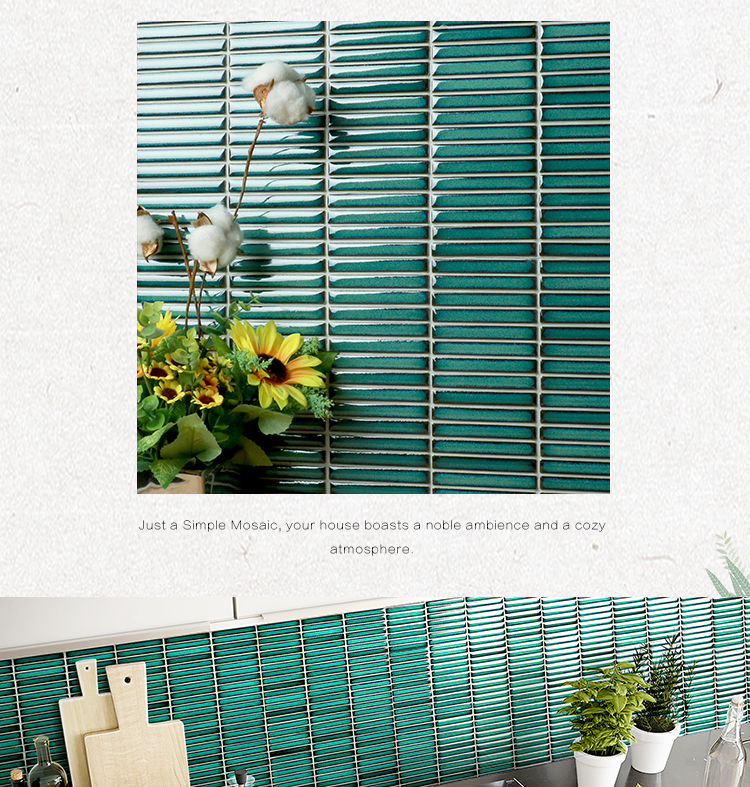 Decorative wholesale factory price turquoise green porcelain bathroom strip premium mosaics tile