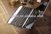 2013 Aluminum alloy bluetooth keyboard leather cover for ipad 2