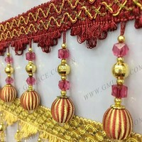red curtain lace accessories and beaded fringe curtain tassel