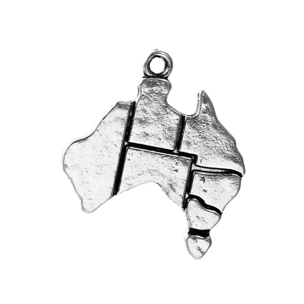 Zinc Based Alloy Silhouette Map Charms Australia Antique Silver 28mm x 25mm