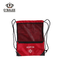 Promotion overstock OEM mesh water resistant 210D polyester drawstring sports bag for football&shoes