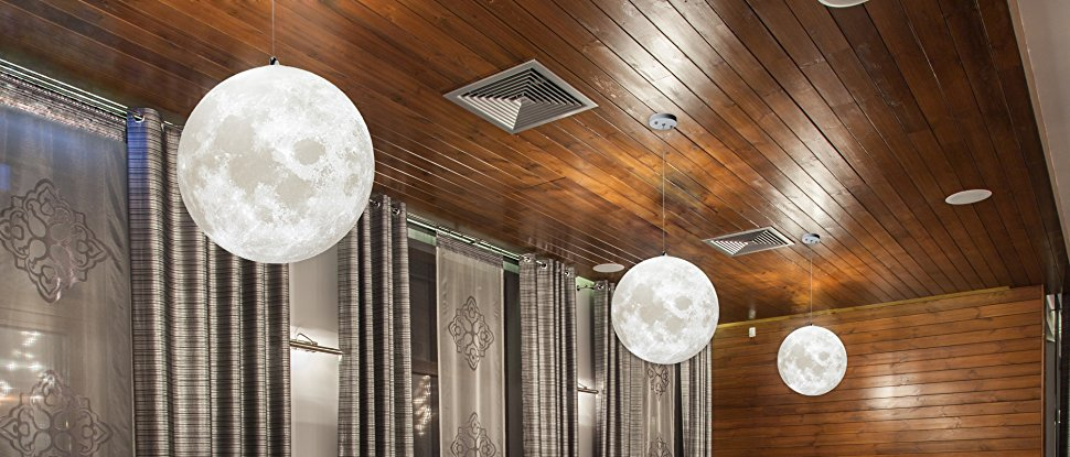 E27 3D Living Room Ceiling Lamp Moon Pendant Light