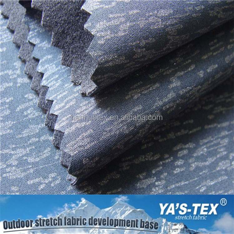 Reflective Printed Fabric, Polyester 4 Way Stretch Fabric Laminated Polyester Sanded Knits