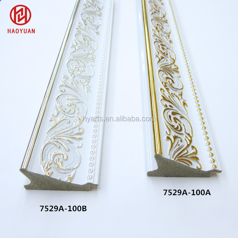 7.5cm Wide White Bevel Ornate Gold Carved PS Polystyrene Picture Moulding Profiles for Large Photo Frame