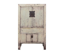 Pine wood distressed cream white painted finish antique wedding cabinet