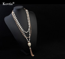 wholesale statement necklace three layer pearl beads necklace beaded pearl necklaces in bulk
