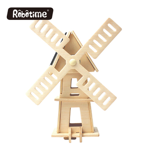 Robotime 3D wooden puzzles solar powered windmill toys for educational