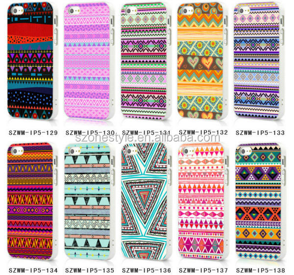 White sides Vintage Retro Aztec Style pattern case for apple iphone 5s