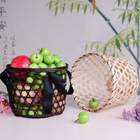 Fruit basket bamboo weaving with carrying satin