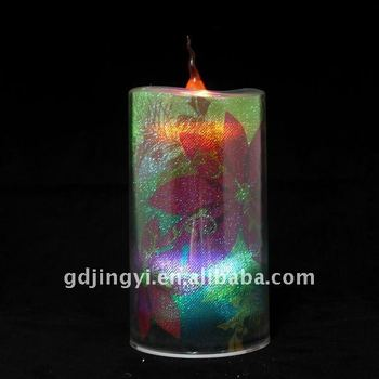 multi-color Battery Operated acrylic christmas led pillar candle