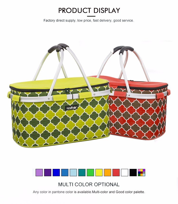 Collapsible lunch picnic cooler basket