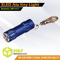 China supplier cheap aluminium 3LED torch keyring