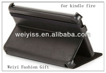 Custom Black Genuine Leather Case for Kindle Fire