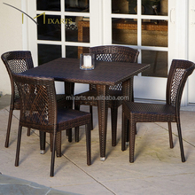 natural rattan weaving restaurant modern garden furniture outdoor patio aluminum wicker woven bamboo dining chairs set