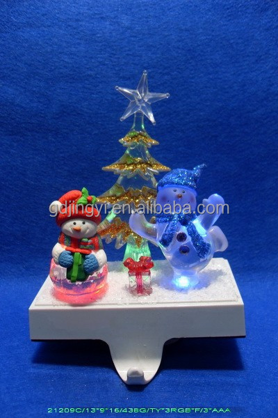 2015 christmas double snowman stocking holder with led