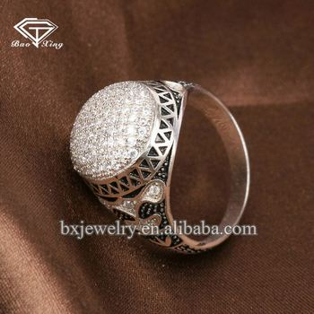 Free sample popular fashion 925 sterling silver zircon ring for men