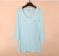 Breathable women's slub cotton long sleeve casual shirt lady custom logo stripe blouse