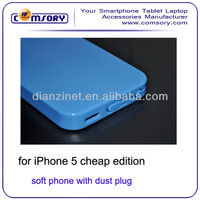 Newest soft phone case with dust plug for iphone 5 5C cheap edition Paypal Acceptable