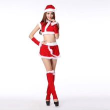 Warm Christmas girls santa claus costume dress with christmas stocking