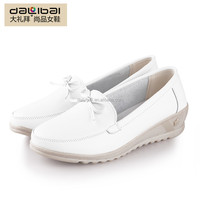 2016 genuine leather women white wedge heel dress shoes with bowknot