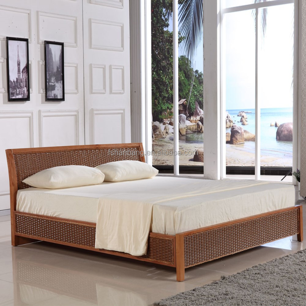 Latest new design double french rattan bed buy double for Double bed new design