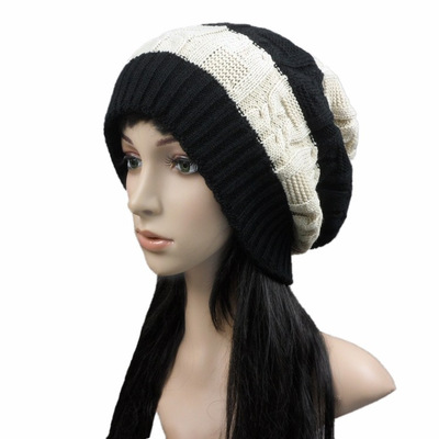 Hot Sale Winter Female Mixed Color Fashion Double Warm Knit Hat
