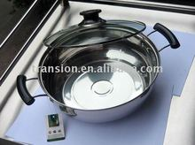 bakelite handle stainless steel hot pot with glass lid