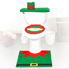 3 pcs Fancy Green elf christmas toilet seat cover & rug bathroom set new for 2015
