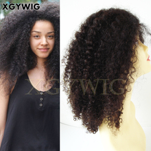 "Stock 8""-26"" 100% virgin unprocessed Brazilian Hair African American afro kinky curly full lace wigs"